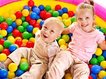 Kids in colored ball. Stock Photo