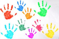 Kids colored hand print on white background. Kids colored hand print on white stock photos