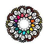 Kids in colorful clothes holding hands mandala wreath. Cartoon minimalism royalty free illustration