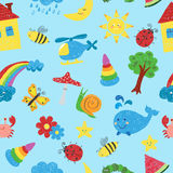 Kids colorful drawings seamless pattern. Royalty Free Stock Images