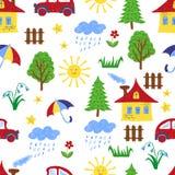 Kids colorful drawings seamless pattern. Stock Image