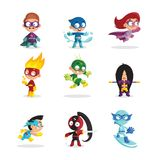 Kids in colorful superhero costumes set, funny boys and girls characters cartoon vector Illustrations Royalty Free Stock Photography