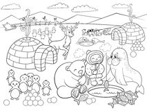 Kids Coloring North Pole vector illustration Royalty Free Stock Images