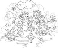 Kids coloring page of cute teddy bears and giraffes stock illustration