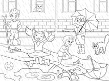 Kids coloring raster children playing in rainy weather. Illustration. Zentangle style. Black-and-white line Stock Images