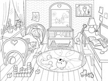 Kids coloring on the theme of childhood room Stock Photography