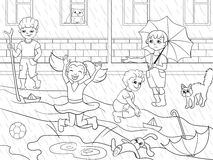 Kids coloring vector children playing in rainy weather. Illustration. Zentangle style. Black-and-white line Stock Photos