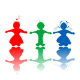 Kids in colors. Happy hugging children silhouettes in colors, isolated objects over white background Stock Photos