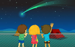 Kids and comet. Illustration of kids and comet in the night sky stock illustration