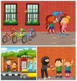 Kids commiting crimes in neighborhood Stock Photos