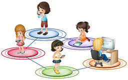 Kids and communication devices. Illustration Royalty Free Stock Photography