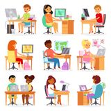 Kids computer vector child studying lesson on laptop at school illustration set of schoolgirl and schoolboy learning vector illustration