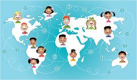 Kids connected worldwide. Vector illustration of children of different nations connecting worldwide stock illustration
