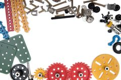 Kids construction toys tools , Colorful toy tools. royalty free stock image