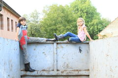 Kids on container Stock Photos