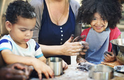 Kids Cooking Baking Cookies Kitchen Concept Stock Photo