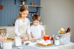 Kids Cooking Baking Cookies Kitchen Concept stock photo