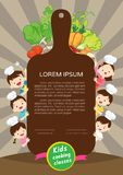 Kids Cooking class certificate design template.Cute little chef cooking meal men stock illustration