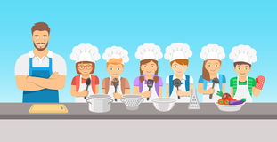 Kids cooking class flat illustration Royalty Free Stock Photo