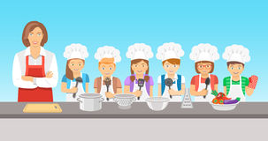 Kids cooking class flat illustration Stock Photos