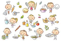 Kids Cooking Set. A set ot funny sketchy kids cooking different food Stock Photos