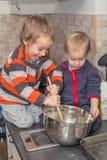 Kids cooking royalty free stock image