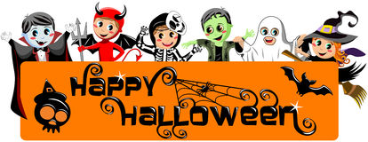 Kids Costume Happy Halloween Banner Royalty Free Stock Photos