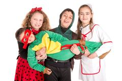 Kids in costumes Stock Photo