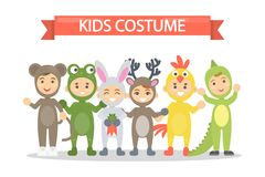 Kids costumes set. Babies in animal outfit. Deer and chicken, lizard and bear Stock Images