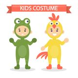 Kids costumes set. Babies in animal outfit. Frog and rooster Royalty Free Stock Images