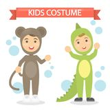 Kids costumes set. Babies in animal outfit. Monkey and lizard Stock Photography