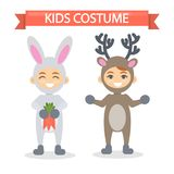 Kids costumes set. Babies in animal outfit. Rabbit and deer Royalty Free Stock Images