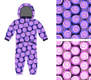 Kids Coverall of abstract spiral pattern. Set snail seamless  Stock Photo