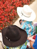 Kids with Cowboy Hats. Two small children wear cowboy hats Stock Images