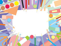 Kids craft supplies. Education and enjoyment concept - art workshop for kids top view background Stock Photography