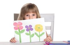 Kids crafts. Kids crafts .  Child showing her crafts Royalty Free Stock Photography
