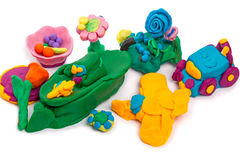 Kids crafts made of modeling clay Stock Photo