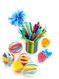 Kids Crafts Out Of Colored Paper Stock Photo