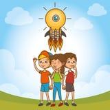Kids with creative big idea Royalty Free Stock Photo
