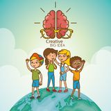 Kids with creative big idea Stock Photography