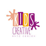 Kids Creative Class Template Promotional Logo With Paint Stains Symbols Of Art and Creativity Stock Images