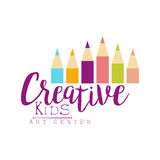 Kids Creative Class Template Promotional Logo With Set Of Pencils, Symbols Of Art and Creativity Stock Photography