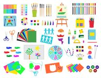 Kids creativity creation symbols artistic objects for children creativity handmade work art vector illustration. Stock Images