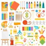 Kids Creativity Creation Symbols Vector Set. Stock Photography
