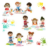 Kids Creativity Practice Royalty Free Stock Photos