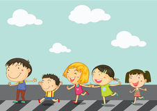 Kids crossing road Royalty Free Stock Images