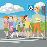 Kids crossing road with teacher. Vector illustration. Stock Photography