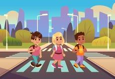 Kids crosswalk. Road safety zebra traffic light warning, students school child pedestrian sidewalk, street car urban stock illustration