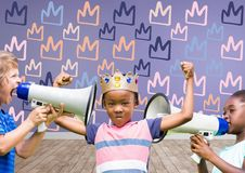 kids with crown with megaphones in blank room background with king crown graphics royalty free stock image