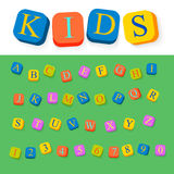 Kids cubes alphabet: vector font Stock Photo